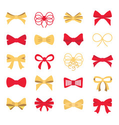 red and gold bow set for your design vector image