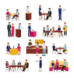 Restaurant People Situations Flat Icons Set vector image