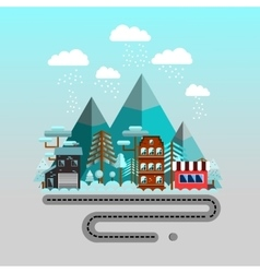 Road to the mountains Winter time flat landscape vector