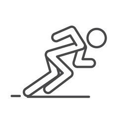 Runner in ready posture to sprint speed sport race vector