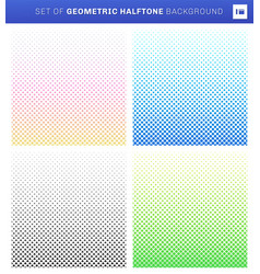 set geometric halftone style on white vector image