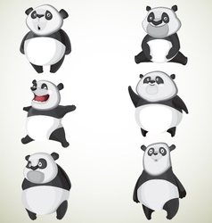 Set of six cute pandas vector image