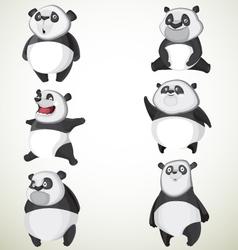 set six cute pandas vector image