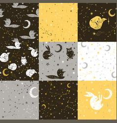 Set star seamless patterns vector