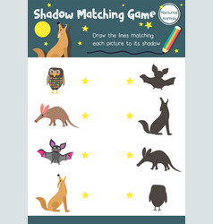Shadow matching game nocturnal animal vector