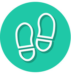 shoe prints in circle line icon vector image