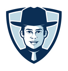 simple sheriff in a badge logo vector image