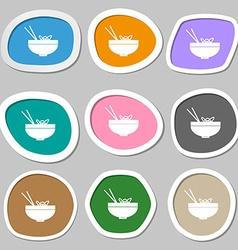 Spaghetti icon symbols Multicolored paper stickers vector