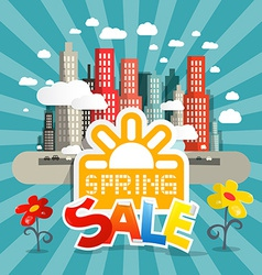 Spring Sale with City and Flowers in Retro S vector image
