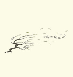 Strong wind and willow vector