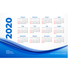stylish 2020 calendar design with blue wavy shape vector image