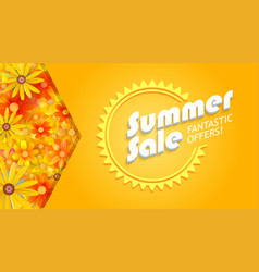 Summer sale three-dimensional text on hot yellow vector