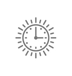Sun time long day light daytime line icon vector
