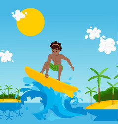 surfer cartoon character riding wave vector image