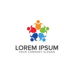 Team work logo design concept template vector