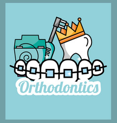 Tooth crown orthodontics dental floss and electric vector