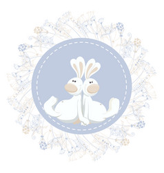 two easter rabbits in circle floral frame vector image