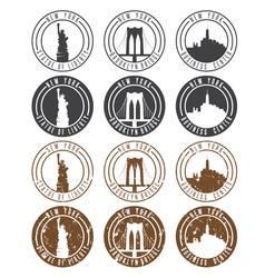 vintage labels set with landmarks new york city vector image