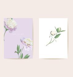 watercolor peony floral wedding card vector image