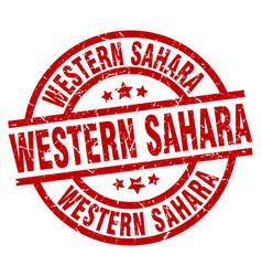 Western sahara red round grunge stamp vector