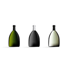 wine bottles in black green white color set vector image