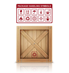 Wooden box and package symbols vector