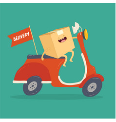 your package rushes to you on courier scooter vector image