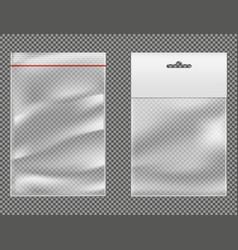 Ziplock plastic packets 3d realistic set vector