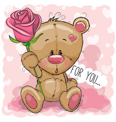 cartoon bear with flower on a pink background vector image