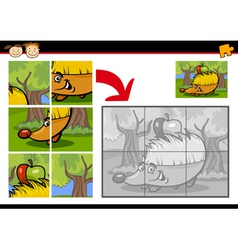 cartoon hedgehog jigsaw puzzle game vector image vector image