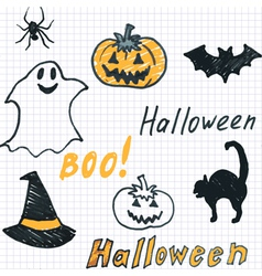 Halloween background with doodle vector image