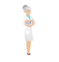 Senior caucasian pharmacist giving pills vector
