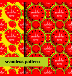 set of seamless pattern with watermelon vector image