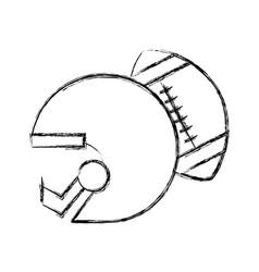 Sketch draw football helmet and ball vector