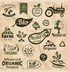 bio organic natural food labels and emblems vector image vector image
