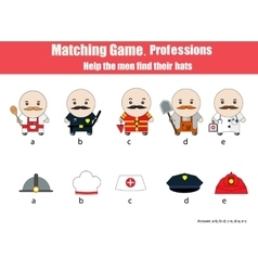 Matching children education game Professions vector image