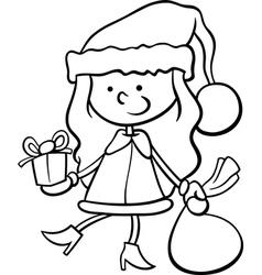 santa claus kid cartoon coloring page vector image vector image