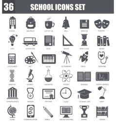 School black icons set Dark grey symbols vector image