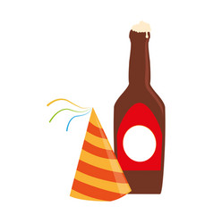 color silhouette with beer bottle and party hat vector image