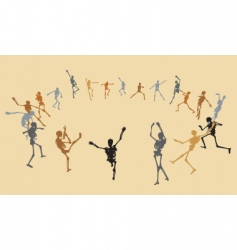 dancing skeletons vector image