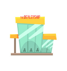 Dealership building with new cars on display vector