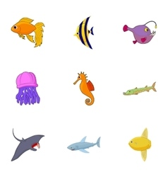 Fish icons set cartoon style vector