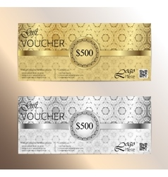 Luxury golden and silver gift certificate in vector image