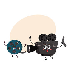 movie shooting camera film reel characters with vector image