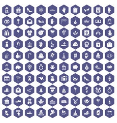 100 gift icons hexagon purple vector image vector image