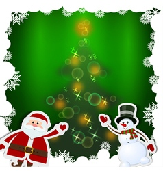 Christmas card with Santa Claus and snowman vector image
