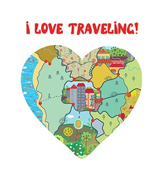 I love travel card with map heart vector image vector image