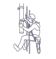 Industrial climber mends drainpipe rope access vector