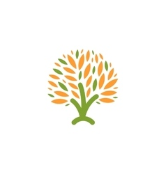 Isolated abstract green orange color tree logo vector image