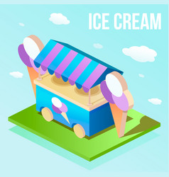isometric illuatration of street ice cream shop vector image
